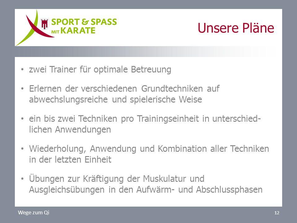 Unsere Pläne zwei Trainer für optimale Betreuung Erlernen der verschiedenen Grundtechniken auf abwechslungsreiche und spielerische Weise ein bis zwei
