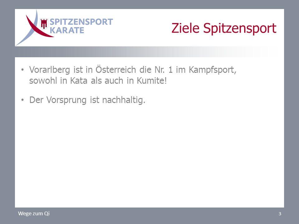 Vorarlberg ist in Österreich die Nr. 1 im Kampfsport, sowohl in Kata als auch in Kumite! Der Vorsprung ist nachhaltig. Wege zum Qi 3 Ziele Spitzenspor