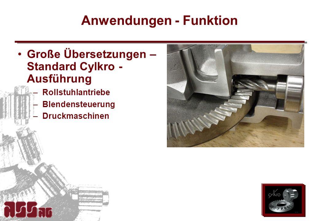 ASS AG 2002 Anwendungen - Funktion Große Übersetzungen – Standard Cylkro - Ausführung –Rollstuhlantriebe –Blendensteuerung –Druckmaschinen