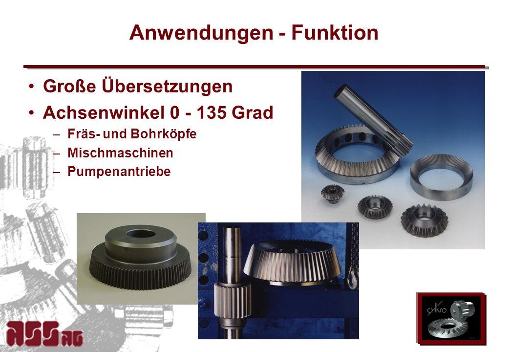ASS AG 2002 Anwendungen - Funktion Große Übersetzungen Achsenwinkel 0 - 135 Grad –Fräs- und Bohrköpfe –Mischmaschinen –Pumpenantriebe