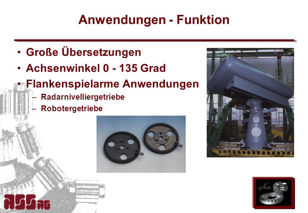 ASS AG 2002 Anwendungen - Funktion Große Übersetzungen Achsenwinkel 0 - 135 Grad Flankenspielarme Anwendungen –Radarnivelliergetriebe –Robotergetriebe