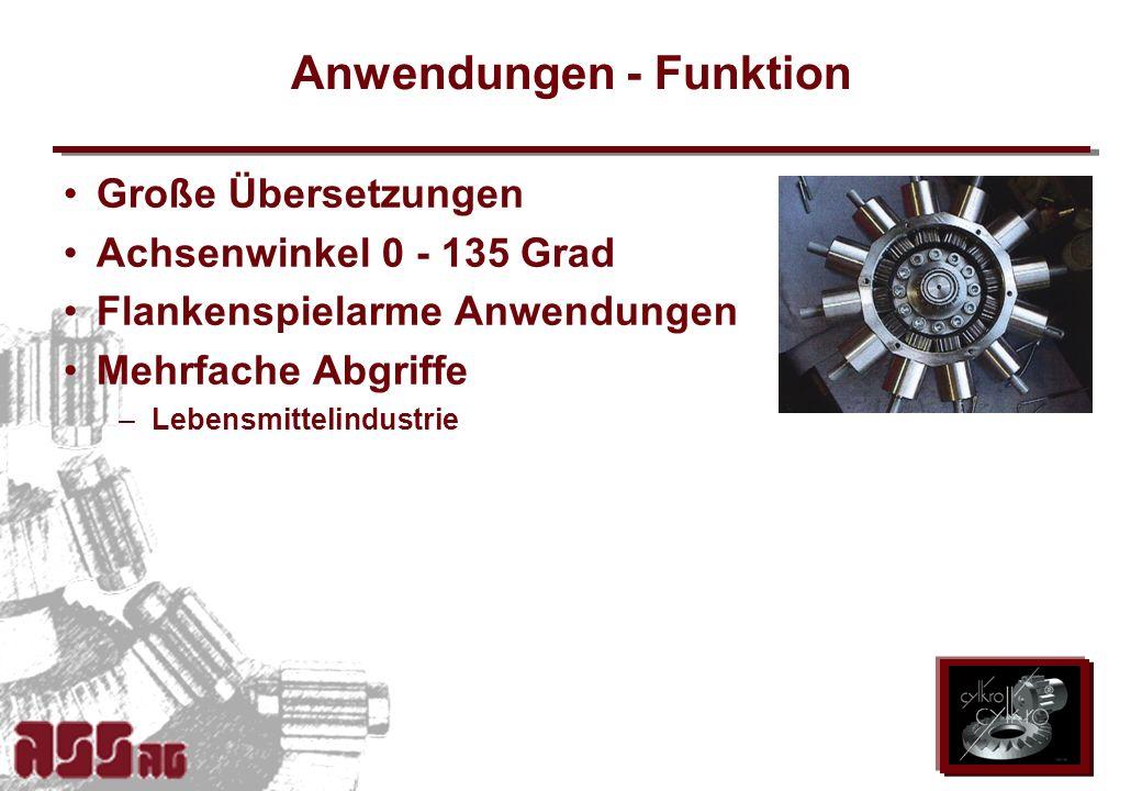 ASS AG 2002 Anwendungen - Funktion Große Übersetzungen Achsenwinkel 0 - 135 Grad Flankenspielarme Anwendungen Mehrfache Abgriffe –Lebensmittelindustri