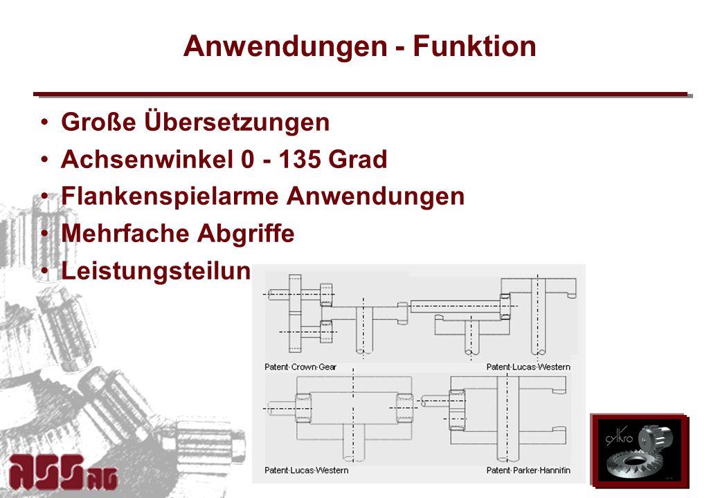 ASS AG 2002 Anwendungen - Funktion Große Übersetzungen Achsenwinkel 0 - 135 Grad Flankenspielarme Anwendungen Mehrfache Abgriffe Leistungsteilung