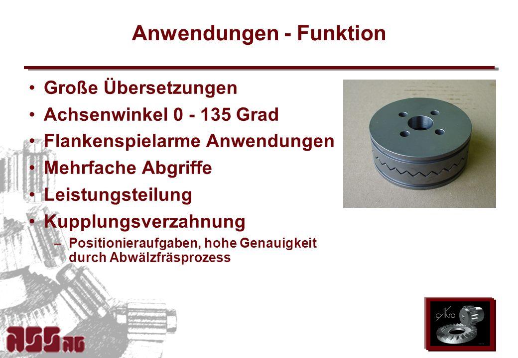 ASS AG 2002 Anwendungen - Funktion Große Übersetzungen Achsenwinkel 0 - 135 Grad Flankenspielarme Anwendungen Mehrfache Abgriffe Leistungsteilung Kupp