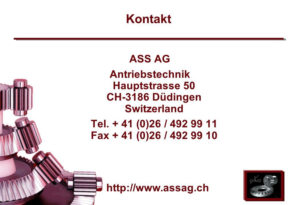ASS AG 2002 Kontakt ASS AG Antriebstechnik Hauptstrasse 50 CH-3186 Düdingen Switzerland Tel. + 41 (0)26 / 492 99 11 Fax + 41 (0)26 / 492 99 10 http://
