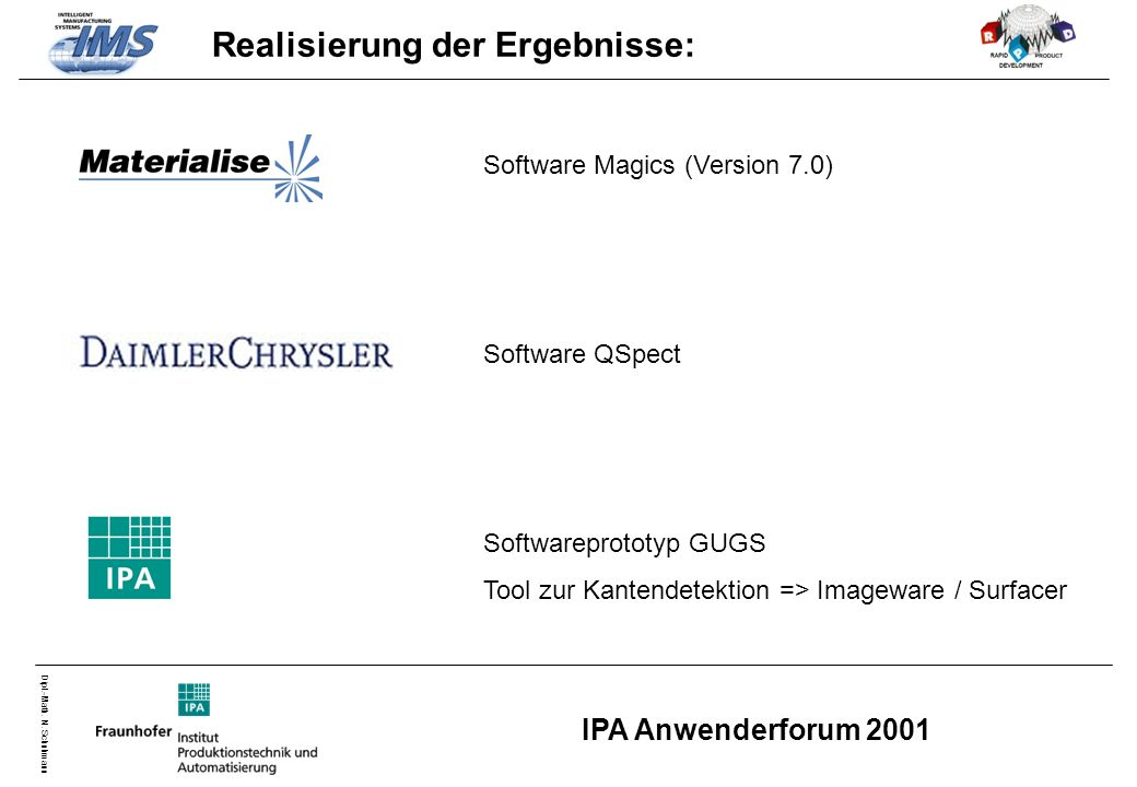 Dipl.-Math. N. Schuhmann IPA Anwenderforum 2001 Realisierung der Ergebnisse: Software Magics (Version 7.0) Software QSpect Softwareprototyp GUGS Tool