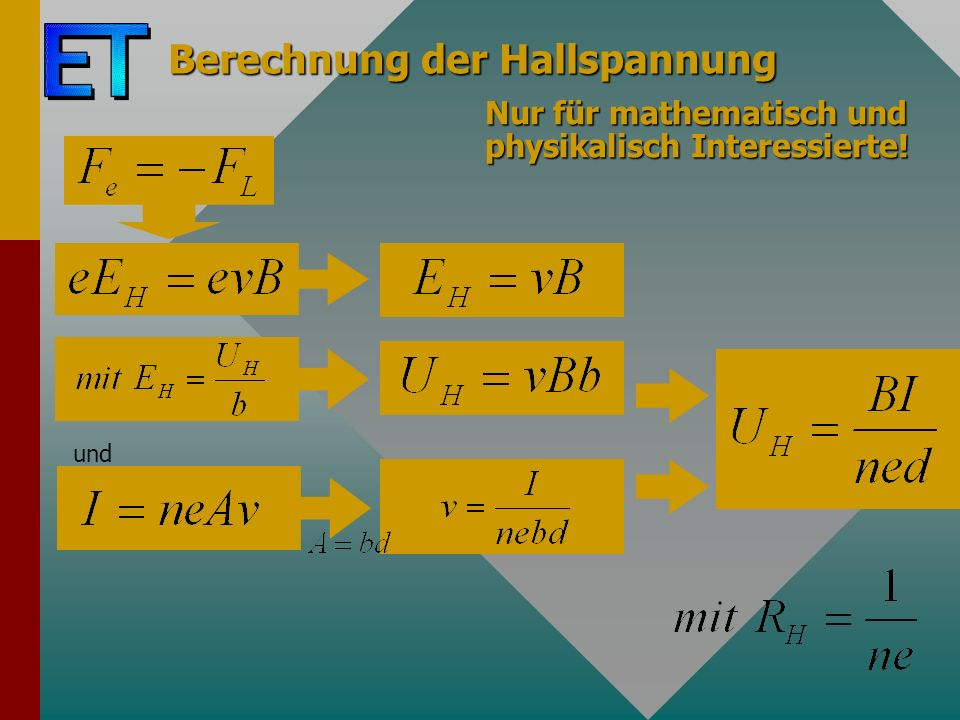 Berechnung der Hallspannung und Nur für mathematisch und physikalisch Interessierte!