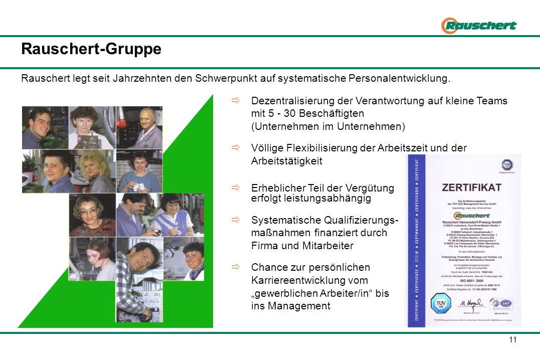 11 Dezentralisierung der Verantwortung auf kleine Teams mit 5 - 30 Beschäftigten (Unternehmen im Unternehmen) Völlige Flexibilisierung der Arbeitszeit