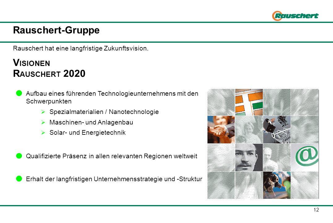 12 Rauschert-Gruppe V ISIONEN R AUSCHERT 2020 Aufbau eines führenden Technologieunternehmens mit den Schwerpunkten Spezialmaterialien / Nanotechnologi