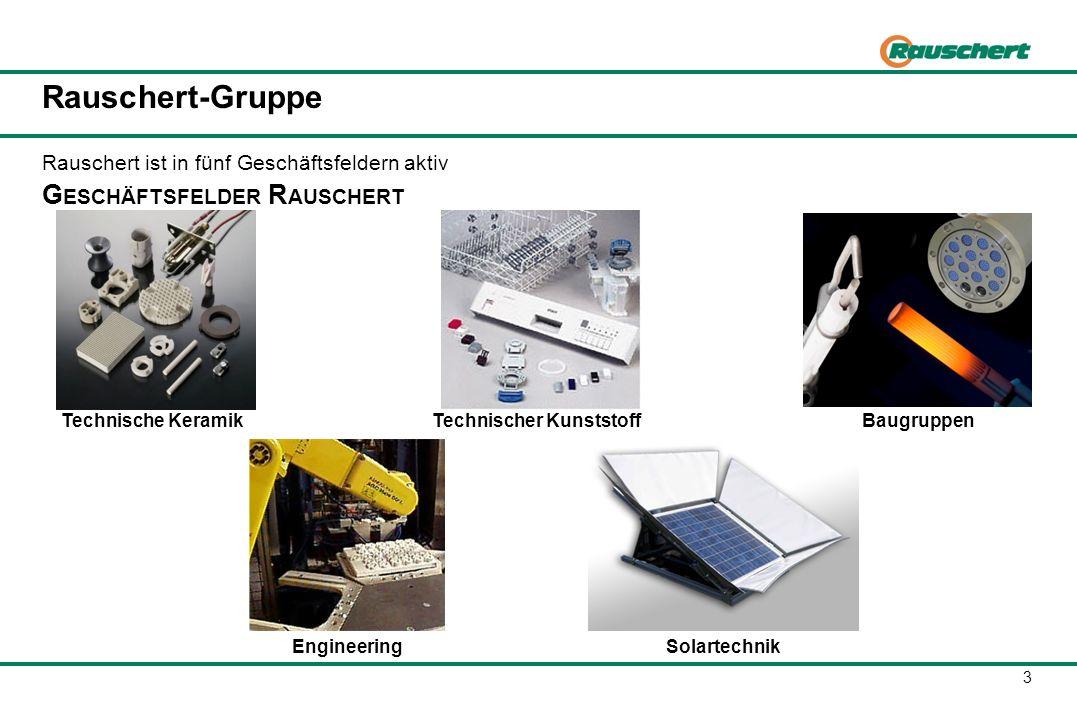 3 Rauschert-Gruppe G ESCHÄFTSFELDER R AUSCHERT Rauschert ist in fünf Geschäftsfeldern aktiv Technische KeramikTechnischer KunststoffBaugruppen Enginee