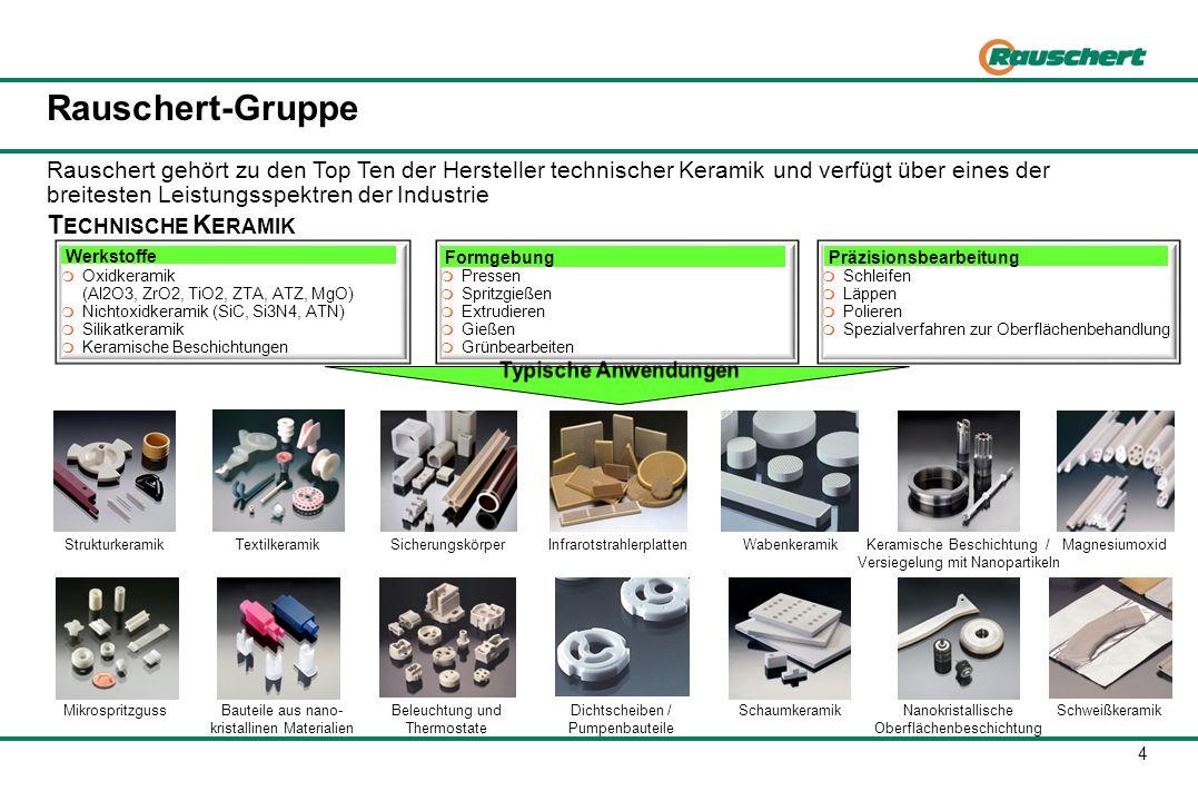 4 Rauschert-Gruppe T ECHNISCHE K ERAMIK Rauschert gehört zu den Top Ten der Hersteller technischer Keramik und verfügt über eines der breitesten Leist