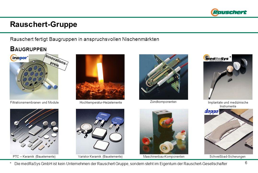 6 Rauschert-Gruppe Schweißbad-SicherungenMaschinenbau-Komponenten Hochtemperatur-Heizelemente B AUGRUPPEN Implantate und medizinische Instrumente Filt