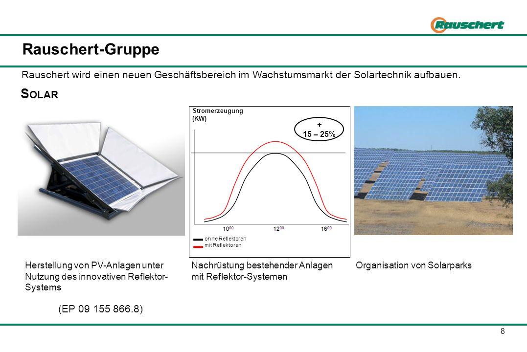 8 Rauschert-Gruppe Rauschert wird einen neuen Geschäftsbereich im Wachstumsmarkt der Solartechnik aufbauen. ohne Reflektoren mit Reflektoren Stromerze