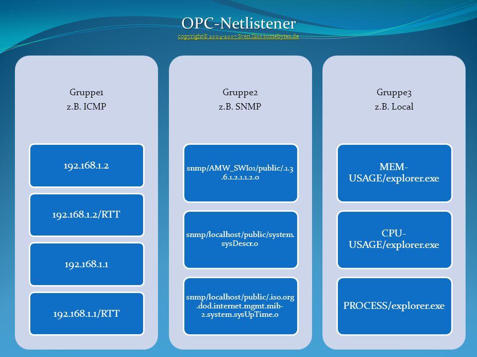 Gruppe1 z.B. ICMP 192.168.1.2192.168.1.2/RTT192.168.1.1192.168.1.1/RTT Gruppe2 z.B. SNMP snmp/AMW_SWI01/public/.1.3.6.1.2.1.1.2.0 snmp/localhost/publi