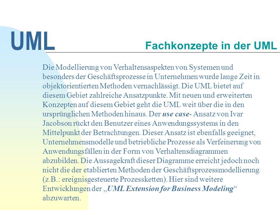 UML Die Modellierung von Verhaltensaspekten von Systemen und besonders der Geschäftsprozesse in Unternehmen wurde lange Zeit in objektorientierten Methoden vernachlässigt.