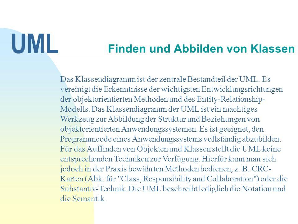 UML Das Klassendiagramm ist der zentrale Bestandteil der UML.
