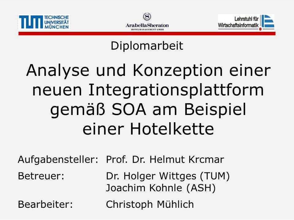 Analyse und Konzeption einer neuen Integrationsplattform gemäß SOA am Beispiel einer Hotelkette Diplomarbeit Aufgabensteller: Prof. Dr. Helmut Krcmar