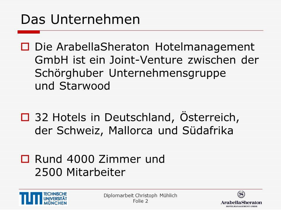 Diplomarbeit Christoph Mühlich Folie 2 Das Unternehmen Die ArabellaSheraton Hotelmanagement GmbH ist ein Joint-Venture zwischen der Schörghuber Untern