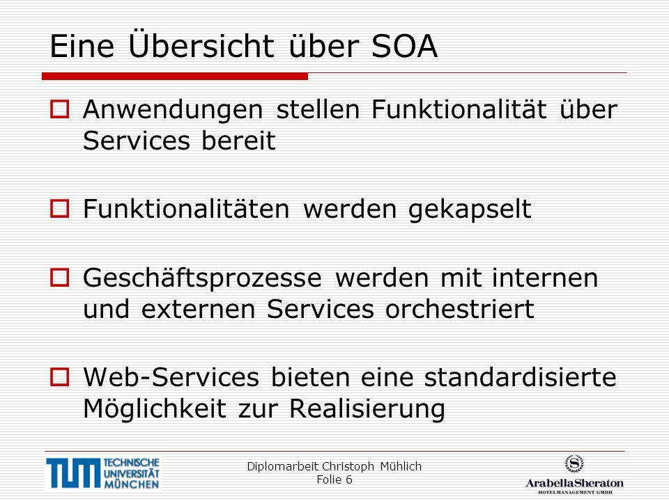 Diplomarbeit Christoph Mühlich Folie 6 Eine Übersicht über SOA Anwendungen stellen Funktionalität über Services bereit Funktionalitäten werden gekapse
