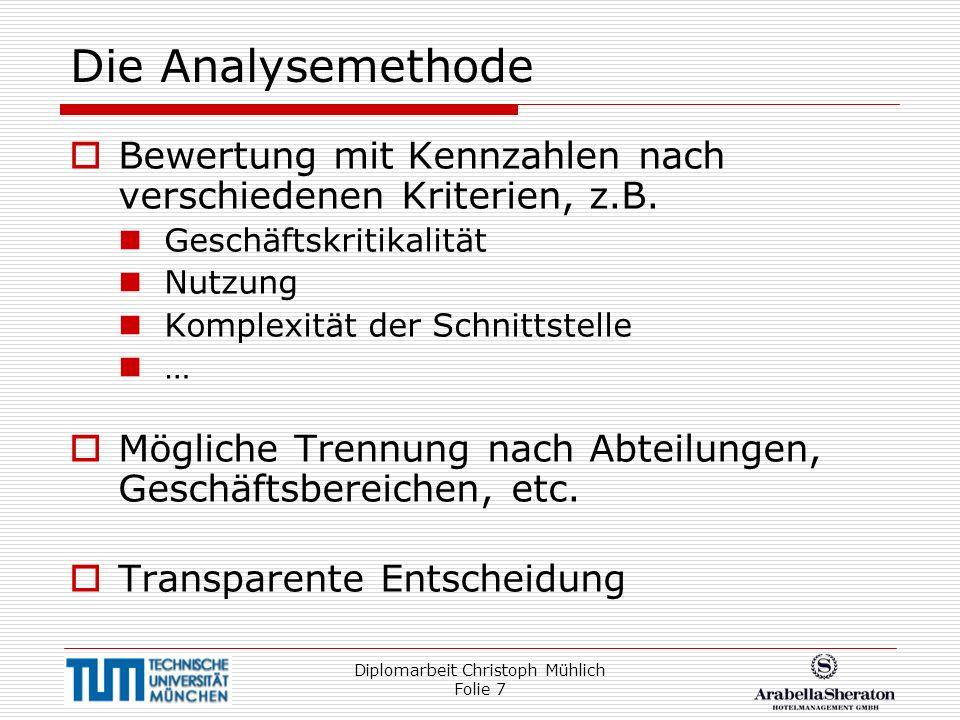 Diplomarbeit Christoph Mühlich Folie 7 Die Analysemethode Bewertung mit Kennzahlen nach verschiedenen Kriterien, z.B. Geschäftskritikalität Nutzung Ko