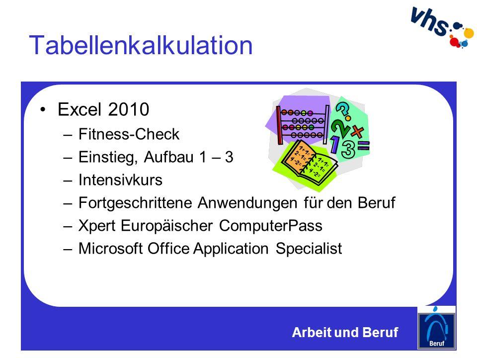Tabellenkalkulation Excel 2010 –Fitness-Check –Einstieg, Aufbau 1 – 3 –Intensivkurs –Fortgeschrittene Anwendungen für den Beruf –Xpert Europäischer ComputerPass –Microsoft Office Application Specialist Arbeit und Beruf
