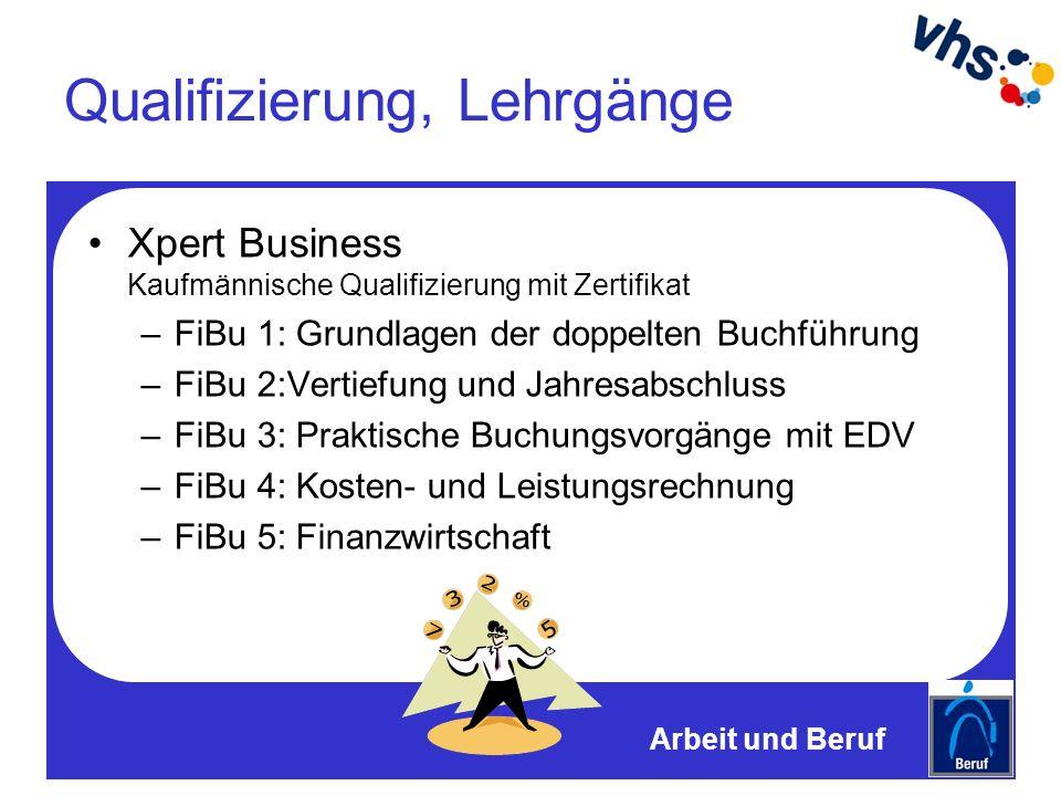 Qualifizierung, Lehrgänge Xpert Business Kaufmännische Qualifizierung mit Zertifikat –FiBu 1: Grundlagen der doppelten Buchführung –FiBu 2:Vertiefung und Jahresabschluss –FiBu 3: Praktische Buchungsvorgänge mit EDV –FiBu 4: Kosten- und Leistungsrechnung –FiBu 5: Finanzwirtschaft Arbeit und Beruf