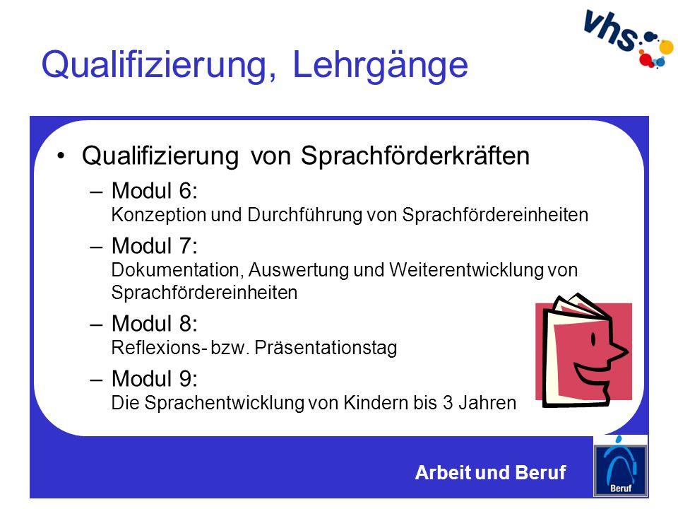 Qualifizierung, Lehrgänge Qualifizierung von Sprachförderkräften –Modul 6: Konzeption und Durchführung von Sprachfördereinheiten –Modul 7: Dokumentation, Auswertung und Weiterentwicklung von Sprachfördereinheiten –Modul 8: Reflexions- bzw.