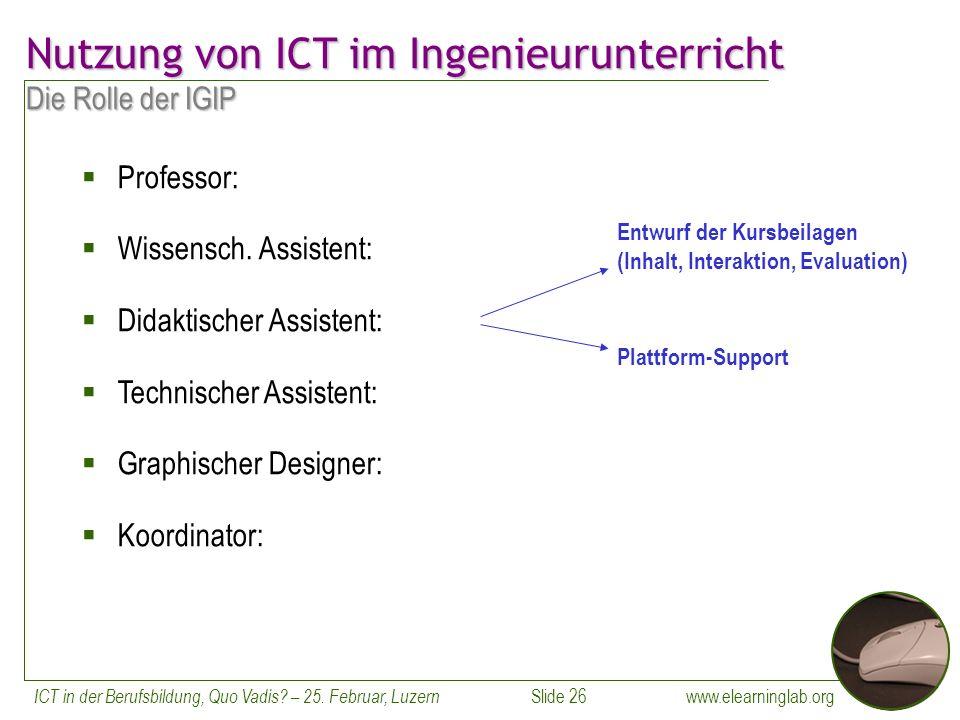 www.elearninglab.org ICT in der Berufsbildung, Quo Vadis.