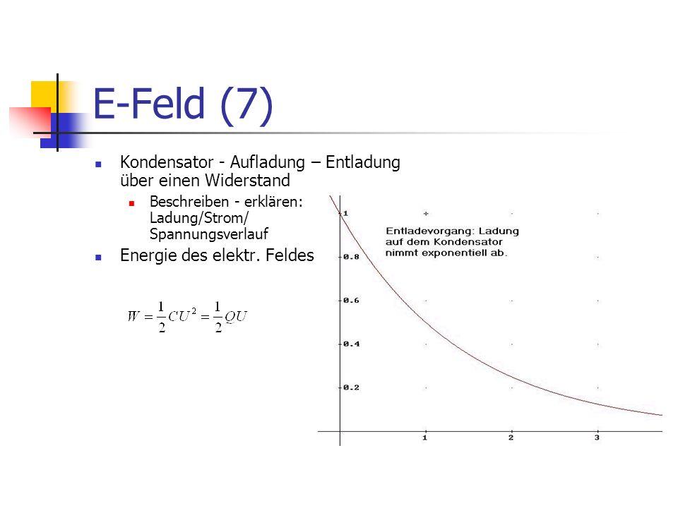 E-Feld (7) Kondensator - Aufladung – Entladung über einen Widerstand Beschreiben - erklären: Ladung/Strom/ Spannungsverlauf Energie des elektr. Feldes