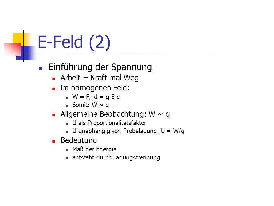 E-Feld (2) Einführung der Spannung Arbeit = Kraft mal Weg im homogenen Feld: W = F el d = q E d Somit: W ~ q Allgemeine Beobachtung: W ~ q U als Propo