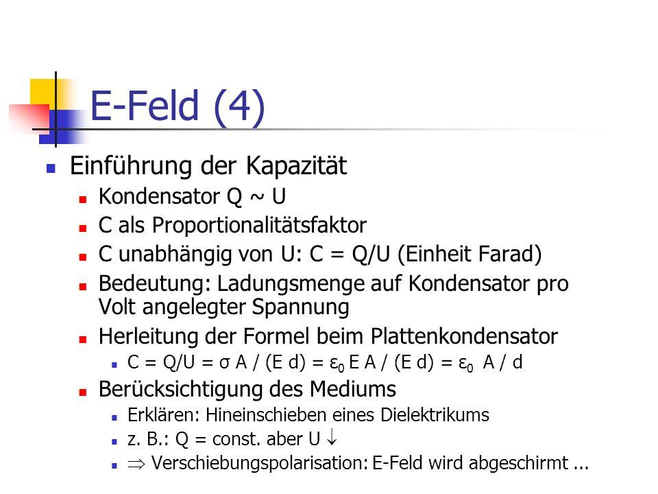 E-Feld (4) Einführung der Kapazität Kondensator Q ~ U C als Proportionalitätsfaktor C unabhängig von U: C = Q/U (Einheit Farad) Bedeutung: Ladungsmeng