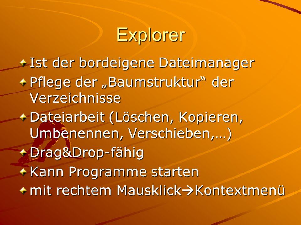 Explorer Ist der bordeigene Dateimanager Pflege der Baumstruktur der Verzeichnisse Dateiarbeit (Löschen, Kopieren, Umbenennen, Verschieben,…) Drag&Dro