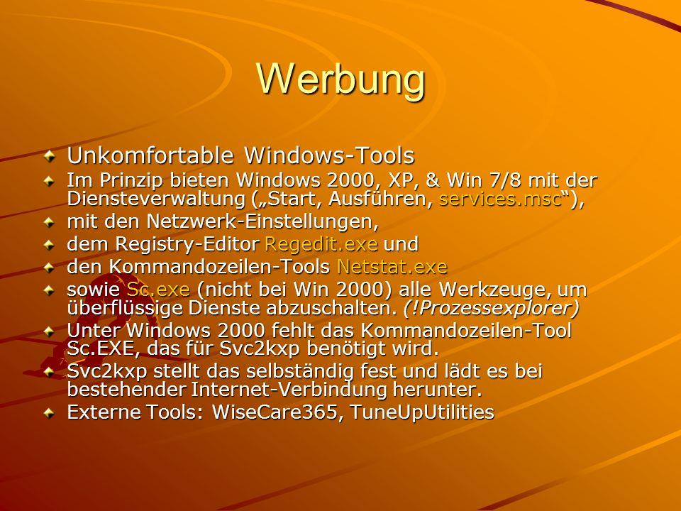 Werbung Unkomfortable Windows-Tools Im Prinzip bieten Windows 2000, XP, & Win 7/8 mit der Diensteverwaltung (Start, Ausführen, services.msc), mit den