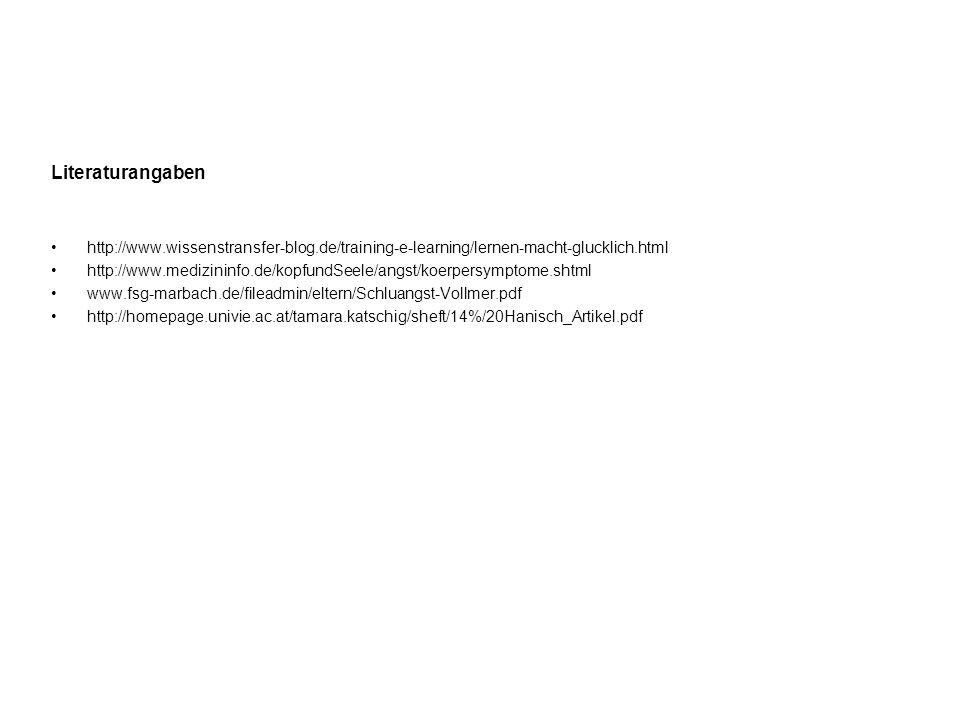 Literaturangaben http://www.wissenstransfer-blog.de/training-e-learning/lernen-macht-glucklich.html http://www.medizininfo.de/kopfundSeele/angst/koerp