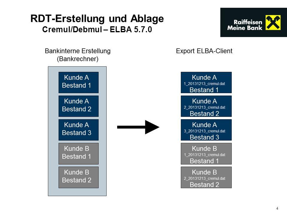 4 RDT-Erstellung und Ablage Cremul/Debmul – ELBA 5.7.0