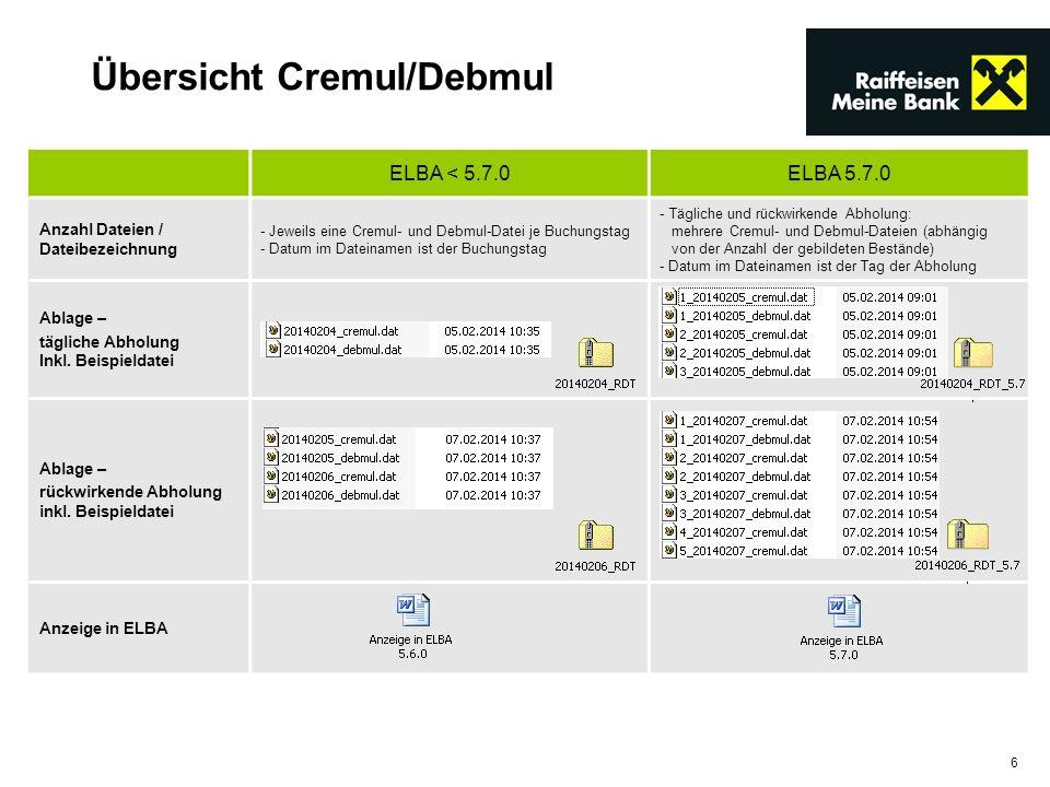 6 ELBA < 5.7.0ELBA 5.7.0 Anzahl Dateien / Dateibezeichnung - Jeweils eine Cremul- und Debmul-Datei je Buchungstag - Datum im Dateinamen ist der Buchun
