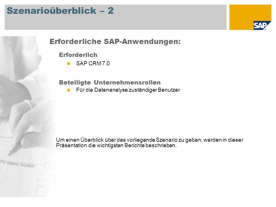 Szenarioüberblick – 2 Erforderlich SAP CRM 7.0 Beteiligte Unternehmensrollen Für die Datenanalyse zuständiger Benutzer Erforderliche SAP-Anwendungen: