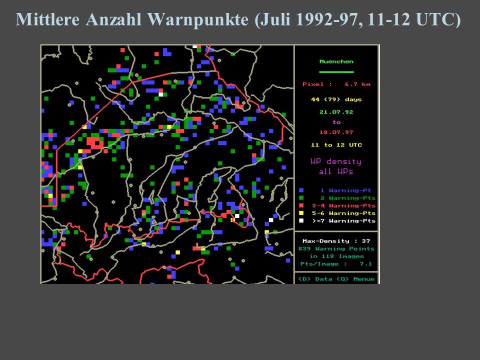 11 Mittlere Anzahl Warnpunkte (Juli 1992-97, 11-12 UTC)