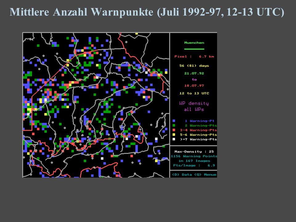 12 Mittlere Anzahl Warnpunkte (Juli 1992-97, 12-13 UTC)