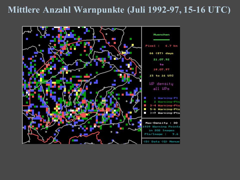 13 Mittlere Anzahl Warnpunkte (Juli 1992-97, 15-16 UTC)