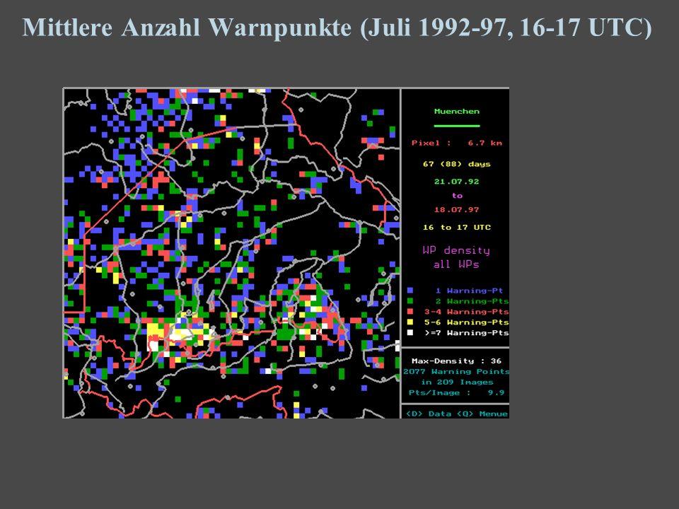 14 Mittlere Anzahl Warnpunkte (Juli 1992-97, 16-17 UTC)