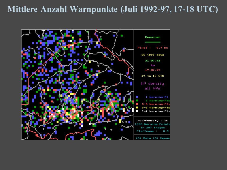 15 Mittlere Anzahl Warnpunkte (Juli 1992-97, 17-18 UTC)