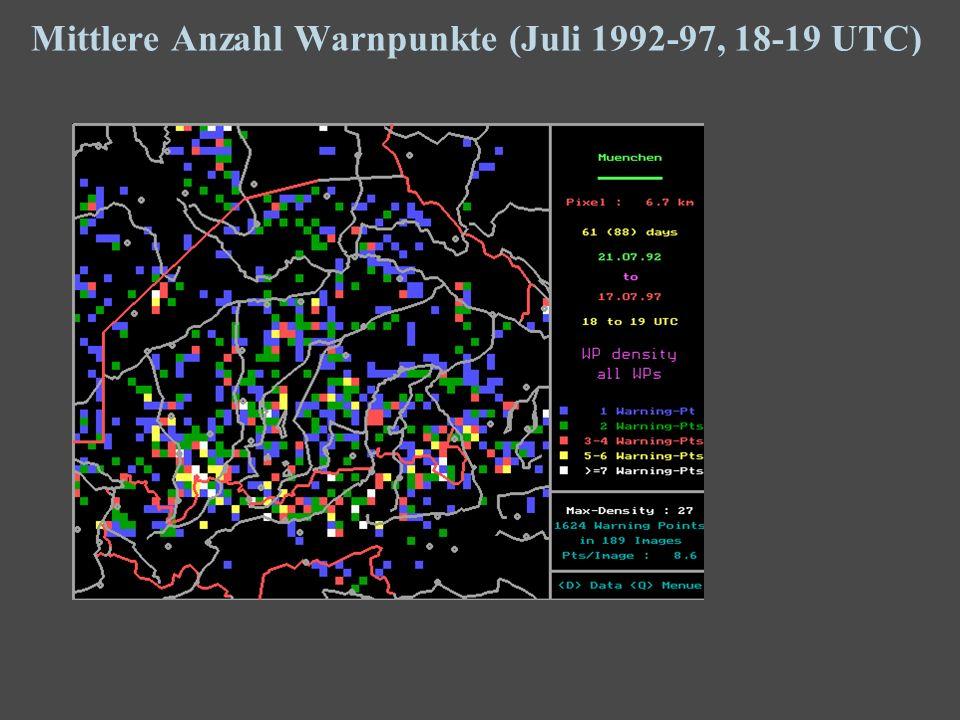 16 Mittlere Anzahl Warnpunkte (Juli 1992-97, 18-19 UTC)