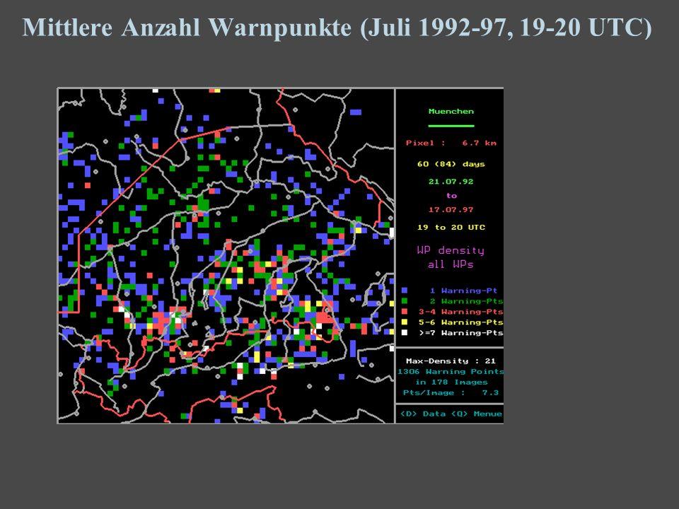 17 Mittlere Anzahl Warnpunkte (Juli 1992-97, 19-20 UTC)