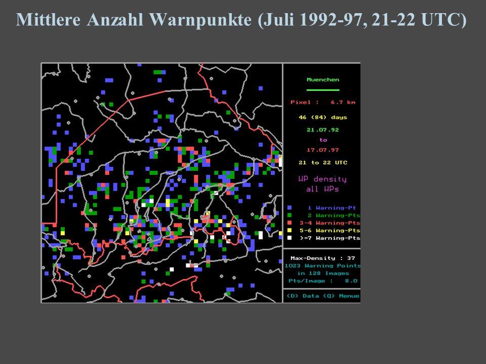 18 Mittlere Anzahl Warnpunkte (Juli 1992-97, 21-22 UTC)