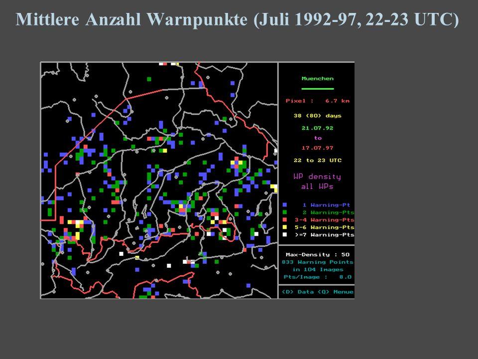 19 Mittlere Anzahl Warnpunkte (Juli 1992-97, 22-23 UTC)