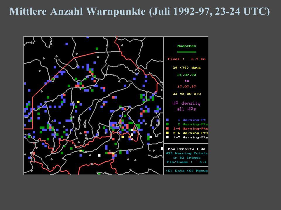 20 Mittlere Anzahl Warnpunkte (Juli 1992-97, 23-24 UTC)