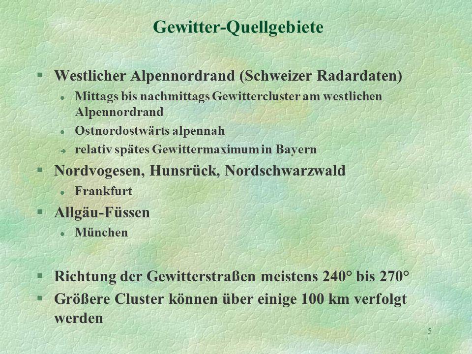 5 Gewitter-Quellgebiete §Westlicher Alpennordrand (Schweizer Radardaten) l Mittags bis nachmittags Gewittercluster am westlichen Alpennordrand l Ostnordostwärts alpennah è relativ spätes Gewittermaximum in Bayern §Nordvogesen, Hunsrück, Nordschwarzwald l Frankfurt §Allgäu-Füssen l München §Richtung der Gewitterstraßen meistens 240° bis 270° §Größere Cluster können über einige 100 km verfolgt werden
