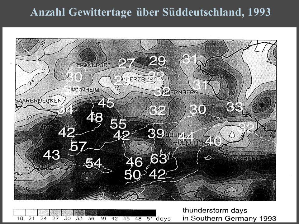 6 Anzahl Gewittertage über Süddeutschland, 1993