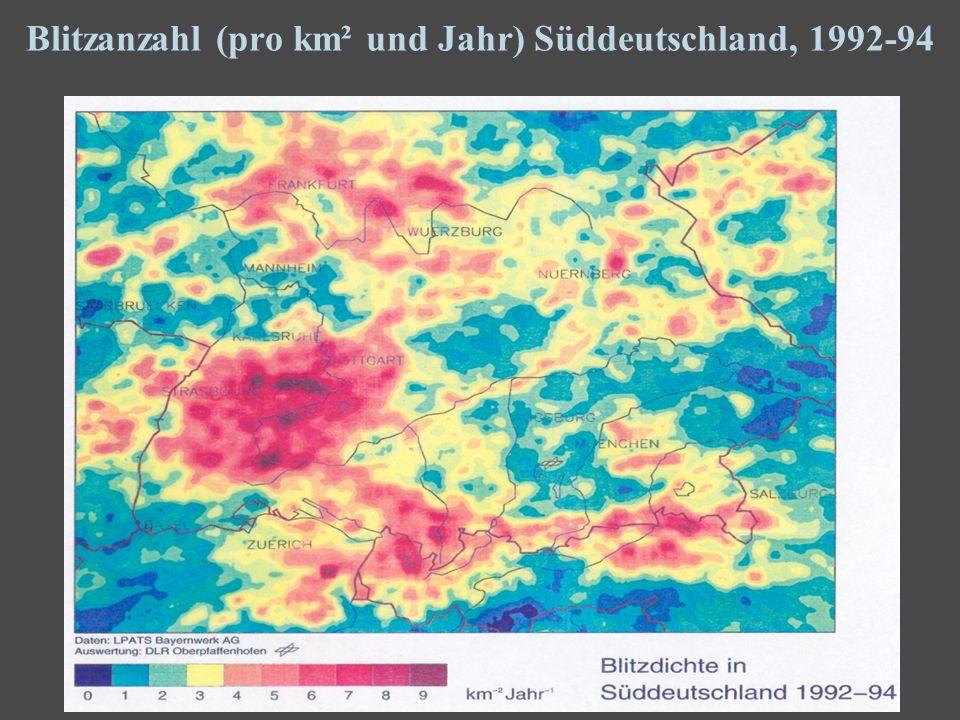 7 Blitzanzahl (pro km² und Jahr) Süddeutschland, 1992-94